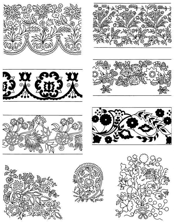 Samples of tambour embroidery. <br/>Second half of 19th century