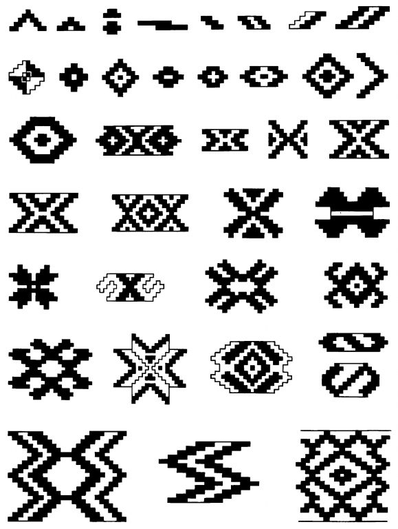 Samples of decorative patterns in clasped weaving. <br/>Second half of 19th century