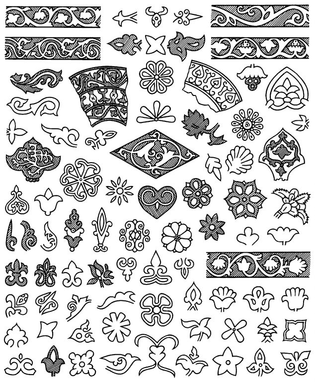 Flower motifs and patterns in jewellery decoration. <br/>9th century - 14th century