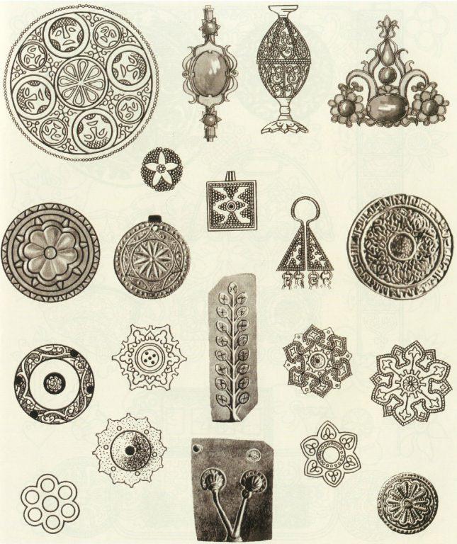 Орнамент в ювелирных изделиях. Формы для отливки украшений. 10 век - 14 век