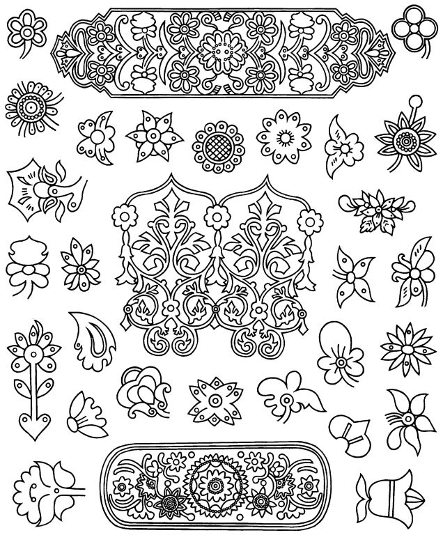 Jewelry floral motifs and patterns. <br/>Second half of 19th century