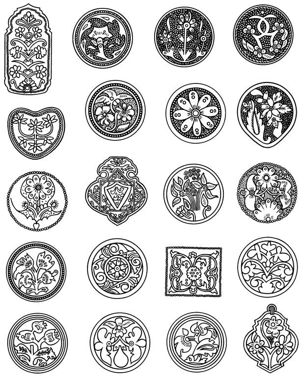 Flower bouquets in jewelry decoration (plaques) . <br/>Second half of 19th century