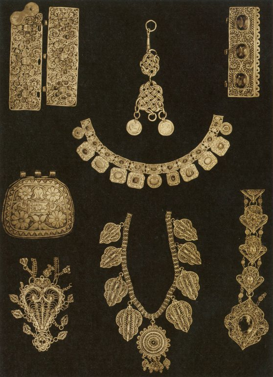Jewelry: clasps, braid accessories, pectoral decorations, Koran Cases, necklaces, jewelry details. <br/>19th century