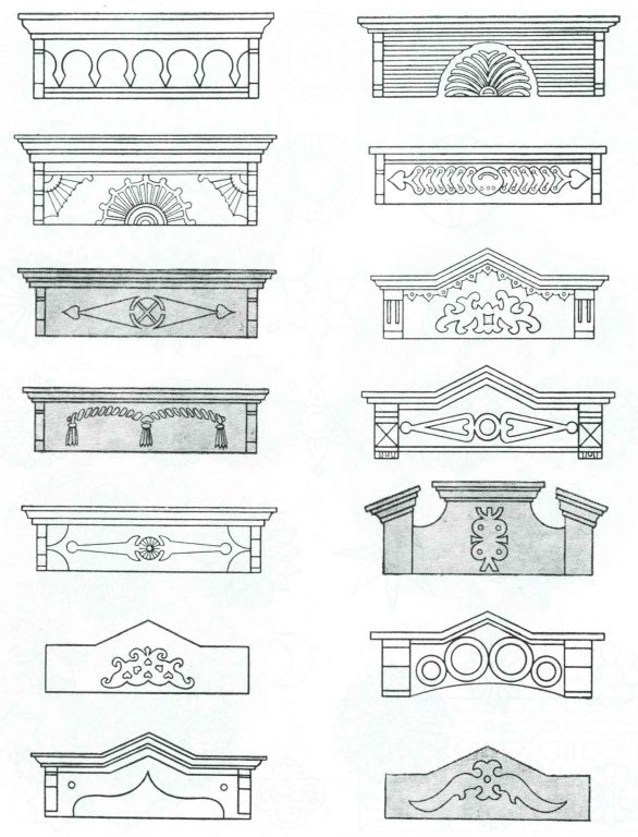 Samples of carved patterns in the decoration of window frames. <br/>19th century