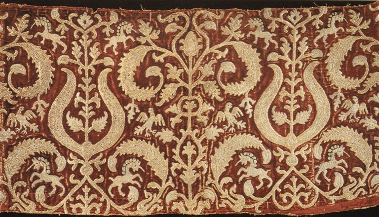 Sample of gold embroidery. <br/>17th century