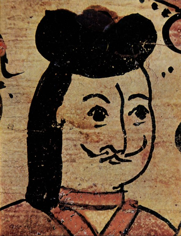 "Larets-teremok (small lidded chest) with an image of ""Foreigners"". Fragment of painting. <br/>Late 17th - early 18th century"
