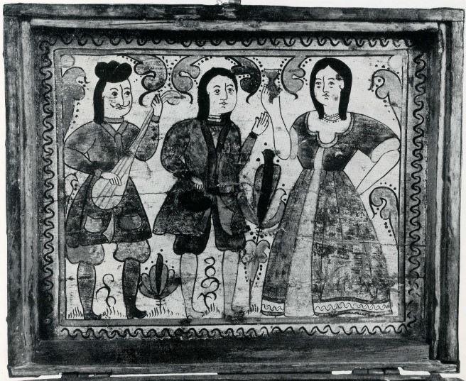 """Сундук-теремок с изображением """"Иностранцев"""". Общий вид. <br/>Конец 17 - начало 18 века"""