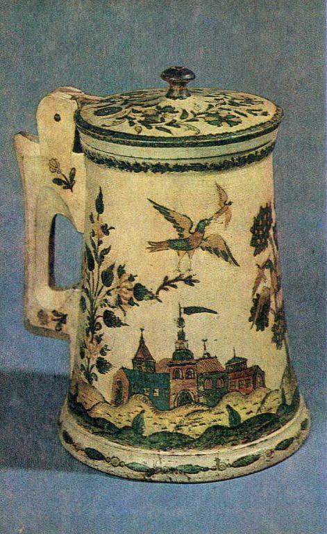 Вид средневекового города. Роспись деревянной кружки. <br/>Начало 18 века