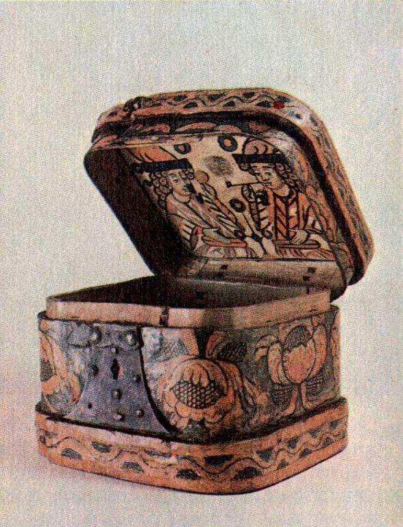 Лубяная коробейка. На её крышке внутри нарисованы стрельцы. 18 век