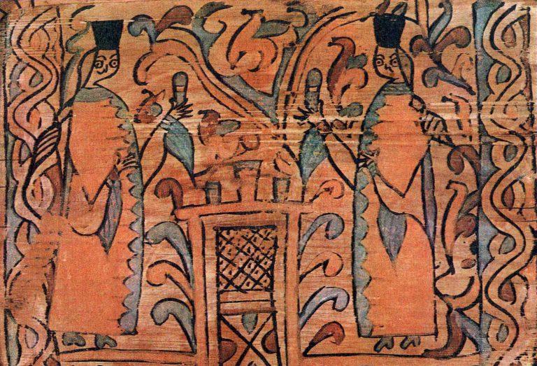 За праздничным столом девицы в нарядной одежде 17 века. Роспись коробьи. <br/>17 век