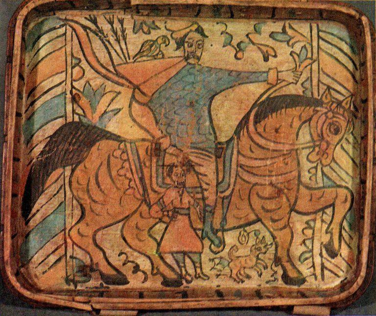 Богатырь Усыня Горыныч. Роспись коробьи. <br/>17 век