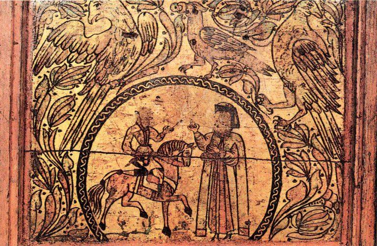 Королевна Дружевна и Бова. Роспись сундука. <br/>17 век