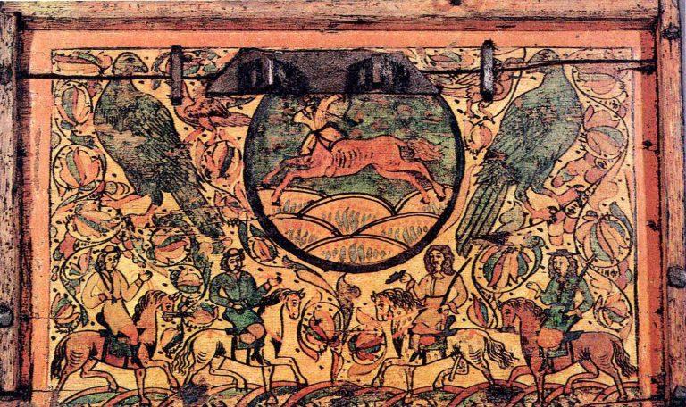 Всадники. Роспись сундука. <br/>Начало 18 века