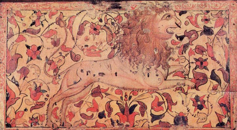 The king of beasts. Chest painting. <br/>18th century