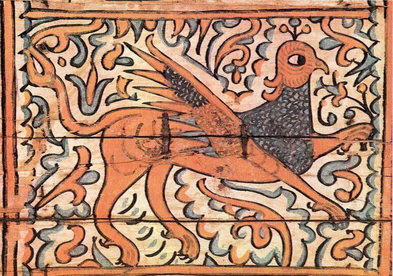 Реконструкция узора росписи коробьи с грифоном