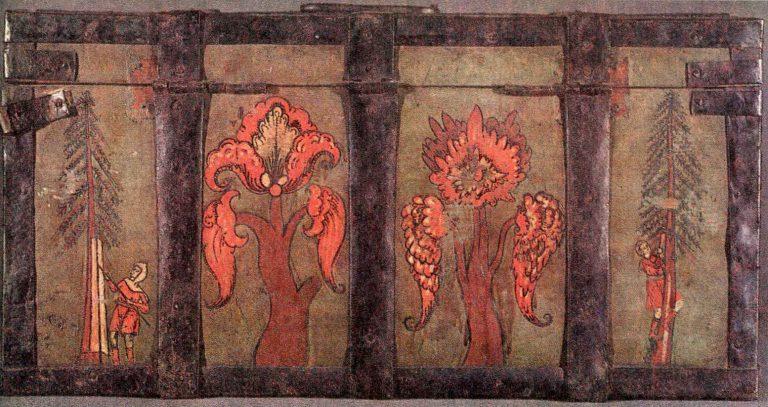 Добыча смолы. Деталь росписи сундука. <br/>17 век - первая половина 18 века