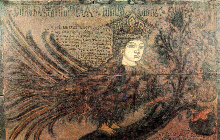 Птица Сирин на виноградном дереве. Вверху приведён текст легенды. Роспись сундука. <br/>1710 год