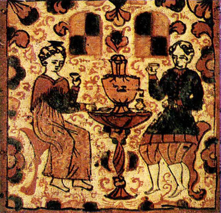 Ceremonial tea drinking. Fragment of box painting. <br/>1st quarter of the 19th century
