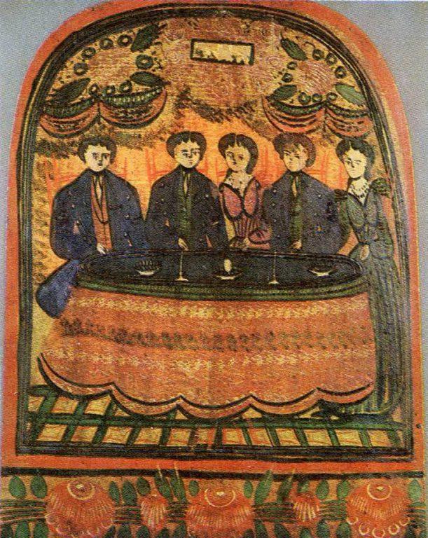 Праздничное застолье. Деталь росписи городецкого донца. <br/>19 - начало 20 века