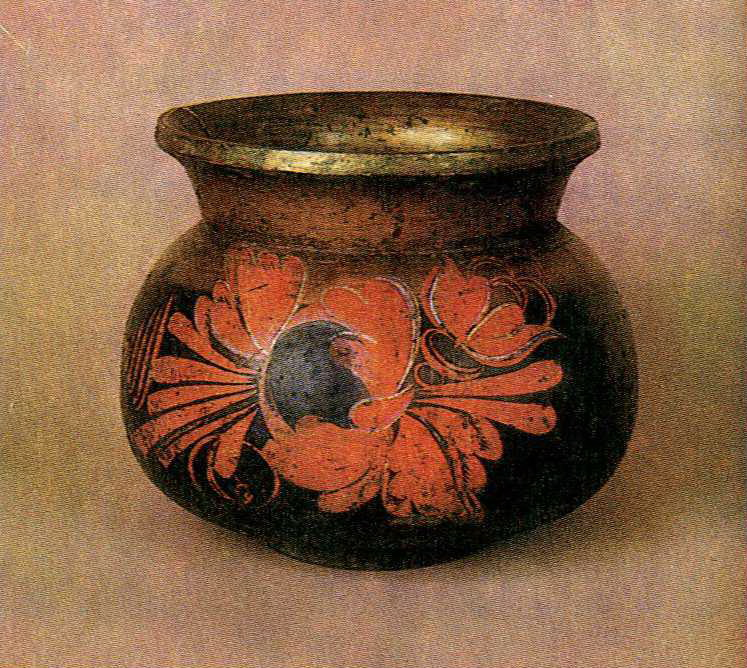 Bratina (large goblet) with Khokhloma painting . <br/>1st half of the 19th century
