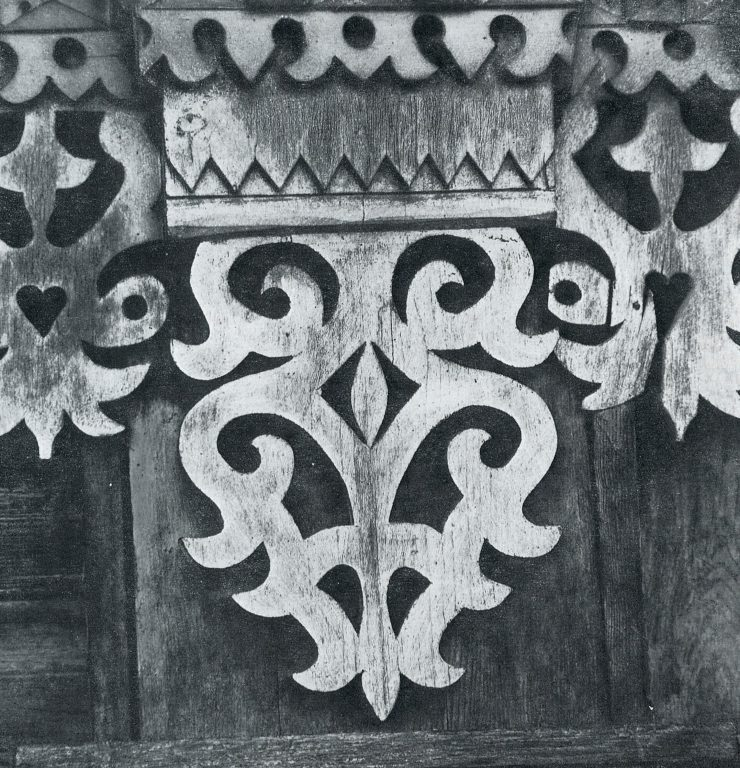 Fragment of decorative frieze and a pilaster. <br/>Late 19th century - early 20th century