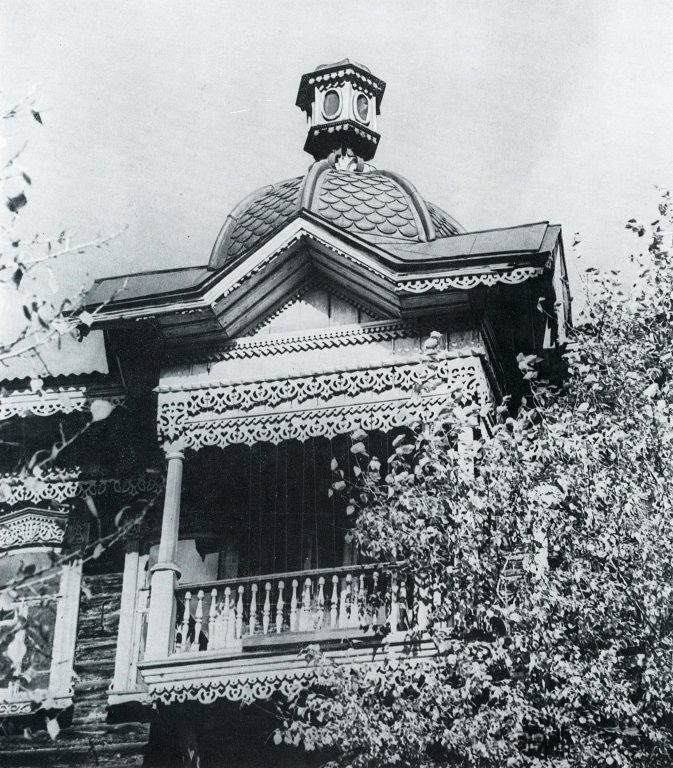 Covered balcony with decorated roof.. <br/>Late 19th century - early 20th century
