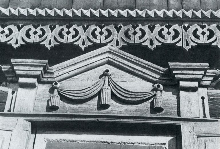 Fragment of frieze and upper window frame. <br/>Late 19th century - early 20th century