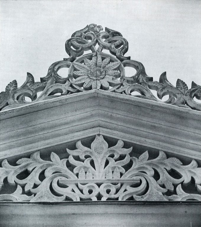 Front door gable. Detail. <br/>Late 19th century - early 20th century