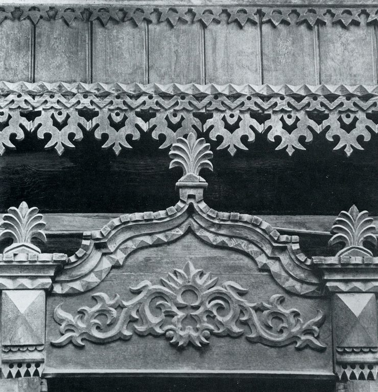 Frieze and upper window frame. <br/>Late 19th century - early 20th century