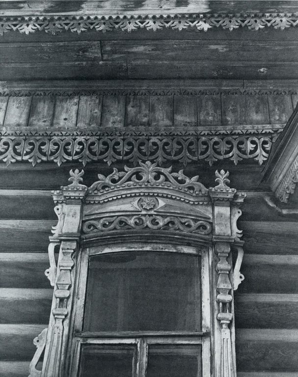 Cornice and upper window frame. <br/>Late 19th century - early 20th century