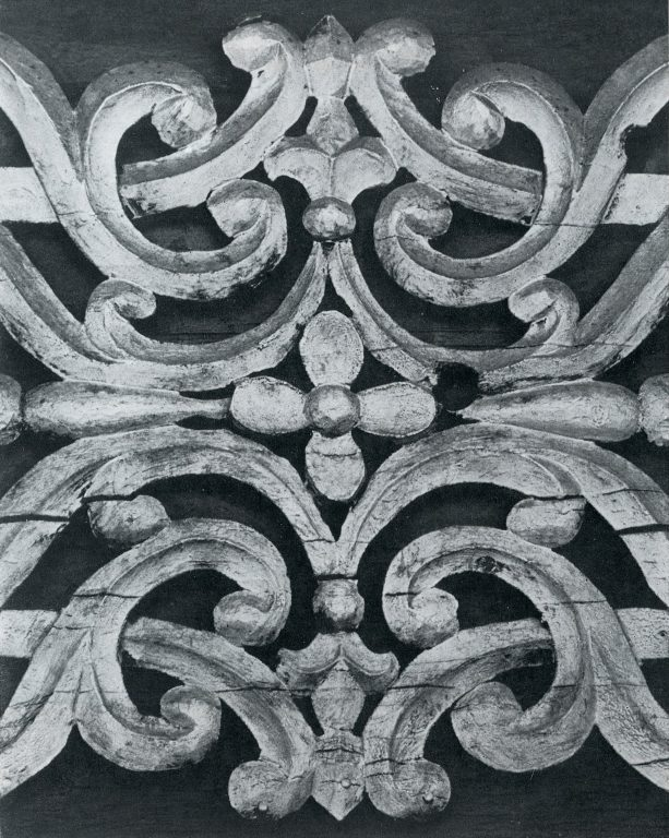 Frieze cartouche between cornice brackets. Detail. <br/>Late 19th century - early 20th century