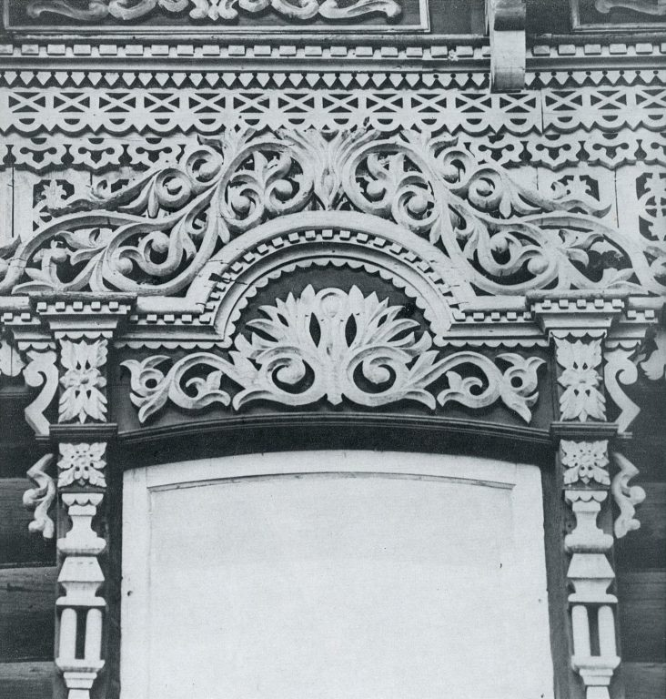 Upper part of a window frame. Detail. <br/>Late 19th century - early 20th century