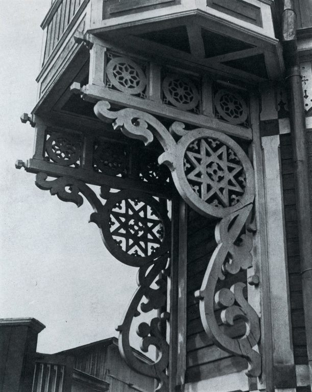 Brackets under bay window. <br/>Late 19th century - early 20th century