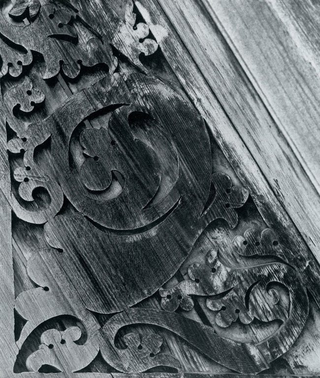 Wood carving of left gable. Detail. <br/>Late 19th century - early 20th century