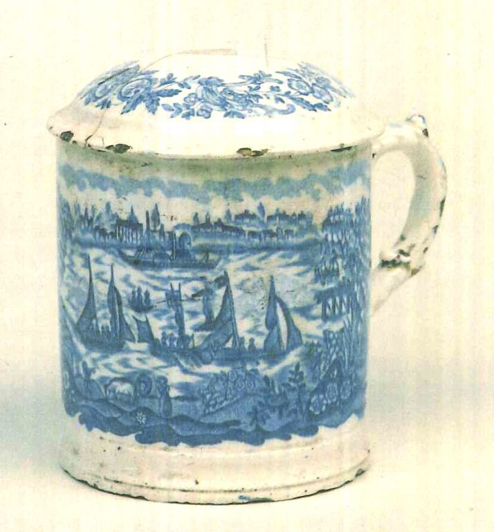Mug with lid. <br/>Late 18th mid 19th centuries