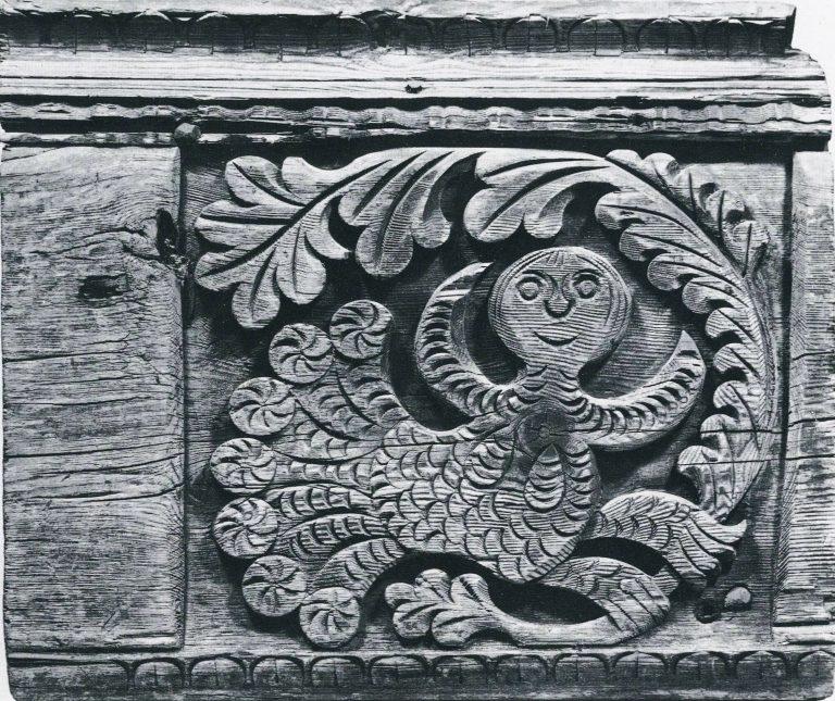 Лобовая доска крестьянской избы. Фрагмент «Сирин». <br/>Начало 1870-х годов