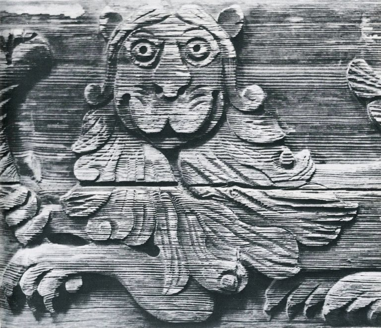 "Izba (log house) fascia board. ""Lion"" fragment. <br/>Mid 19th century"