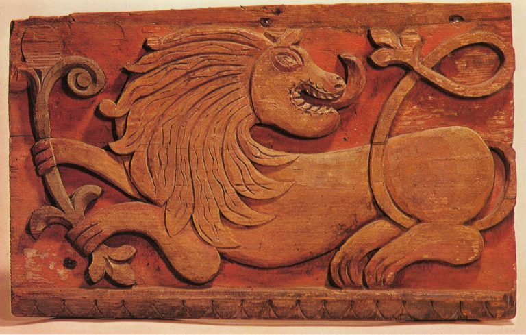 "Izba (log house) fascia board. ""Lion"" fragment. 19th century"
