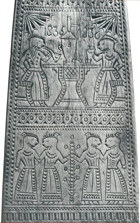 """Distaff. """"Tea-drinking"""" and """"Quadrille"""" decoration fragment. <br/>1835 year"""