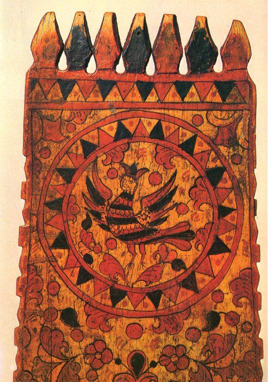 "Distaff. ""Sirin"" decoration fragment. Mid 19th century"