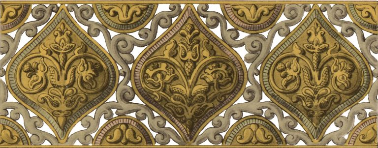 Чеканный орнамент на висячем подсвечнике . <br/>17 век
