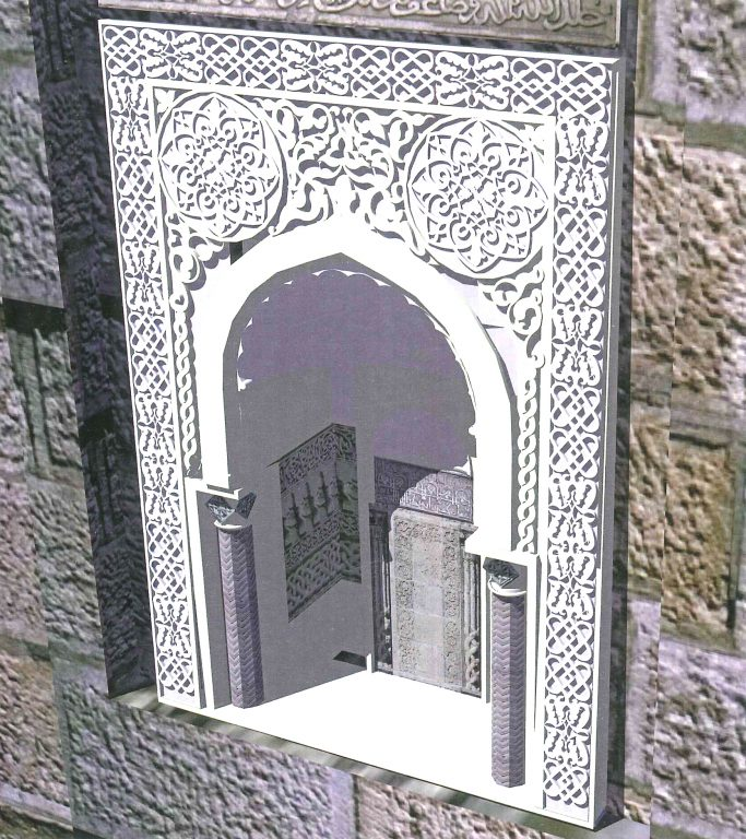 External view reconstruction. Stone carving of the facade niche . <br/>14th century