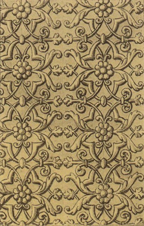 Орнамент серебряной басмы оклада иконы Божей Матери Умиления. <br/>16 век