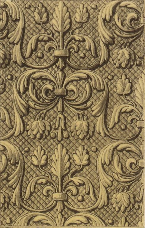 Орнамент серебряной басмы оклада иконы Похвалы Богородицы. <br/>16 век