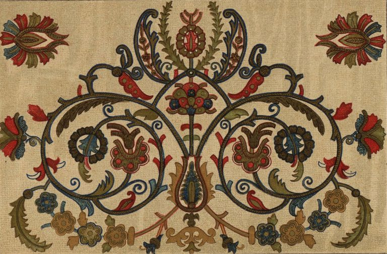 Embroidered towel ornament. <br/>17th century