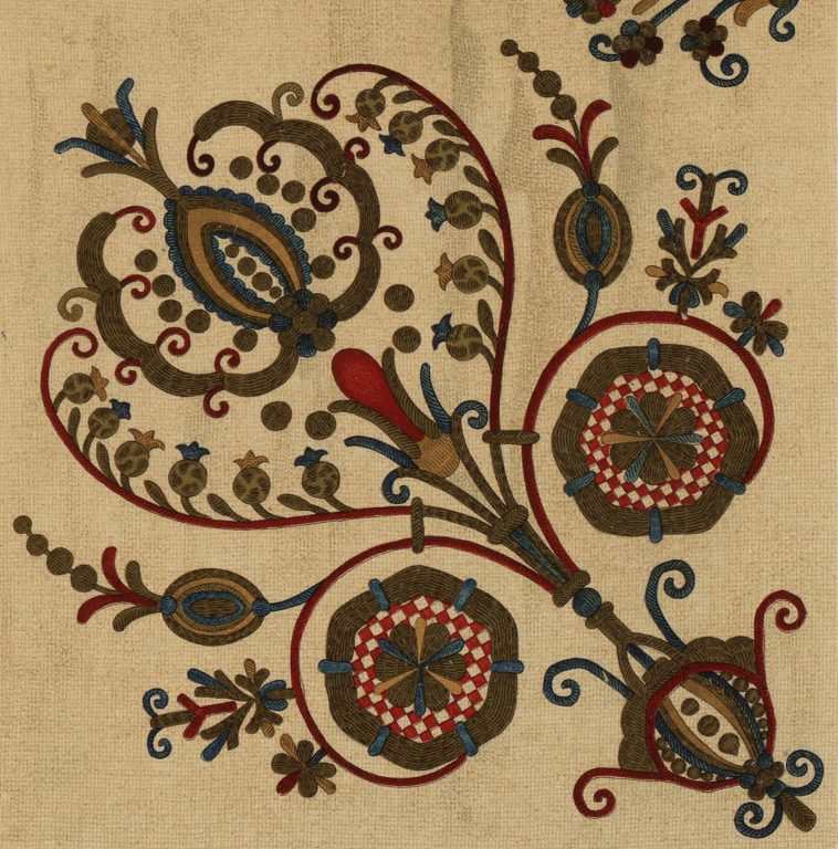 Embroidered towel ornament. 17th century