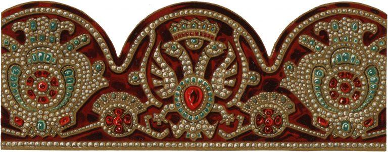 Орнамент саккоса патриарха Адриана сделанного из одежды царя Иоанна Алексеевича. <br/>1691 - 1699 годов