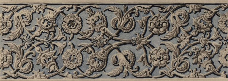 Stone carved ornament of a window frame. 17th century