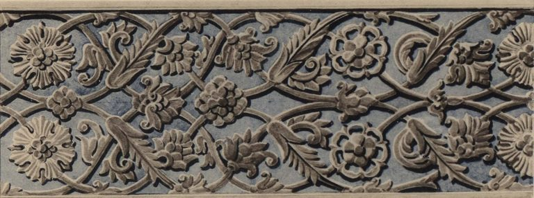 Stone carved ornament of a window frame