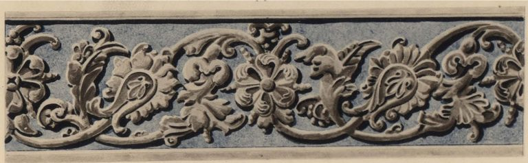 Stone carved ornament of a window frame. <br/>17th century